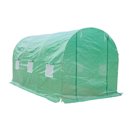 Outsunny® Estufa de Cultivo para Terraço ou Jardim – Cor verde – Tubo Aço e PE 140g/㎡ - 450x200x200 cm