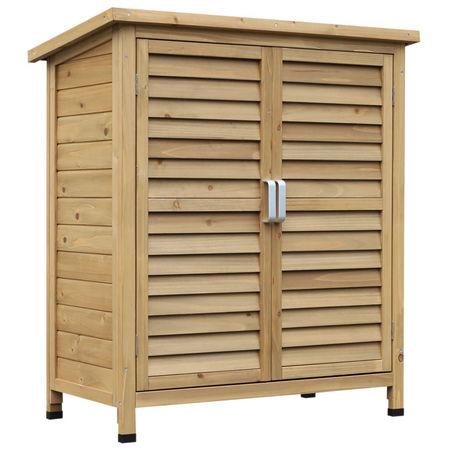 Outsunny Abrigo - Galpão de armazenamento ao ar livre para jardim de madeira 87x46.5x96.5 cm