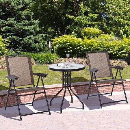 Outsunny Conjunto de Mesa e 2 Cadeiras Cadeira Dobrável Encosto Reclináveis a 4 Níveis Armação de Aço Marrom