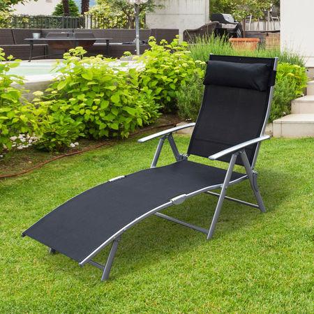 Outsunny Espreguiçadeira Dobrável Encosto Ajustável para 7 Níveis com Travesseiro Resistente ao Textilene 137x63.5x100.5 cm Aço