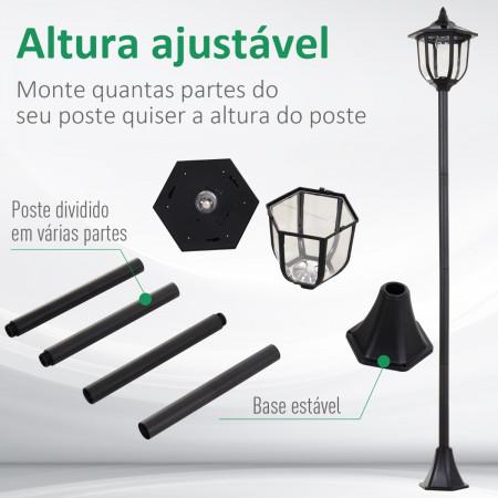 Outsunny Poste de luz solar ao ar livre 6 LEDS Autonomia 6-8 Horas Partida automática Ф26x177 cm Luz de rua solar exterior Outsunny 6 LEDS e autonomia de 6-8 horas automáticas
