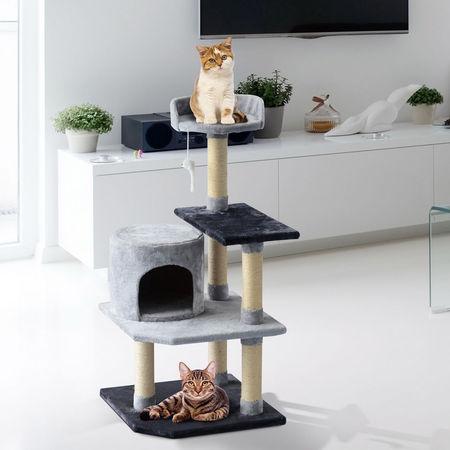 PawHut Árvore para gatos Arranhador Grande com Plataformas para Brincar coberta de Pelucía Bege 48x48x100 cm