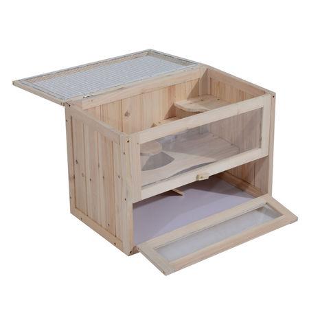 PawHut Gaiola de madeira de hamster Casa de roedores para pequenos animais 2 níveis 60x35x42cm