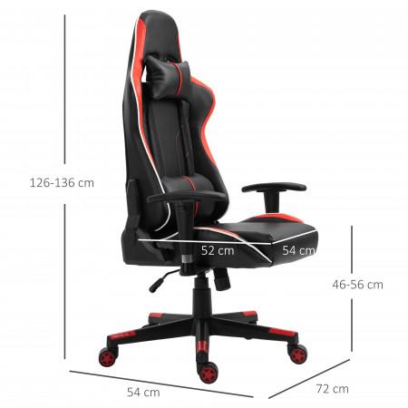 Vinsetto Cadeira gaming para escritório reclinável ajustável em altura com apoio lombar e encosto de cabeça, vermelho 72 x 54 x (126-136) cm