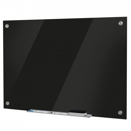 Vinsetto Placa de vidro magnético com bandeja Inclui 4 marcadores e borracha 90x60x0,45 cm Preto