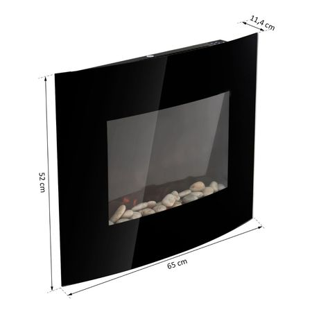 HOMCOM Lareira Elétrica Vidro Ferro Preto 65 x 11,4 x 52 cm
