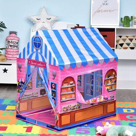 HOMCOM Loja de doces para brincar Zona infantil Presente fácil de montar para crianças 93x69 x103cm 0,75 kg Rosa