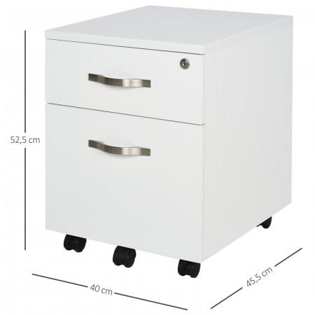 HOMCOM Móvel para arquivos com 2 gavetas com freios 40x45.5x52.5 cm Branco