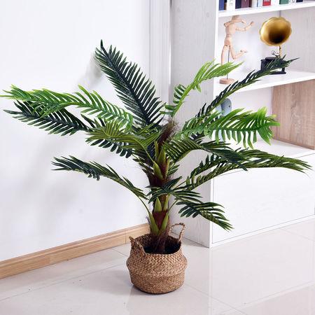 Outsunny Cycas Artificial 123cm com bastões naturais Árvore decorativa da planta Sintético com vaso de flores casa terraço jardim decoração