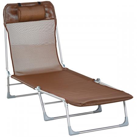 Outsunny Espreguiçadeira dobrável e reclinável de jardim com apoio de cabeça e encosto ajustável em 5 níveis Tecido textilene respirável 182x56x24,5 cm marrom