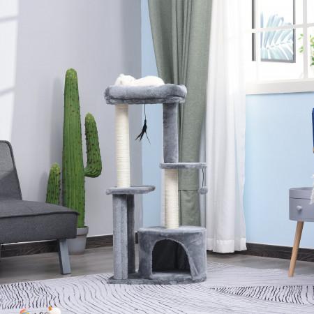 PawHut Árvore de gato de vários níveis Raspador com 1 quarto e 2 plataformas cinza