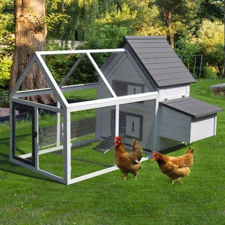 PawHut Grande Galinheiro de madeira de abeto curral ao ar livre com caixa de ovos e bandeja para galinhas 166x121.5x112cm