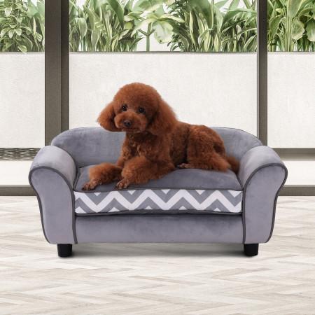 PawHut Sofá para animais de estimação com pernas de madeira com almofada acolchoada aconchegante e capa lavável 73,5x41x33 cm cinza