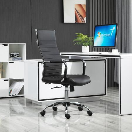 Vinsetto Cadeira de Escritório Ergonômica Giratoria 360° Inclinável com Altura Ajustável Rodas Apoio de Braços 54x62x104-114 cm Preto