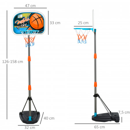 HOMCOM Cesto de basquete para crianças acima de 6 anos com suporte de altura ajustável e base recarregável incluídos 32x65x126-158 cm