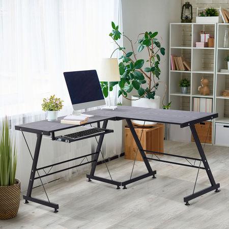 HOMCOM Mesa de computador PC Mesa de escritório 2 tipos Formulário de mesa de canto L Aço de quadro de mesa reta