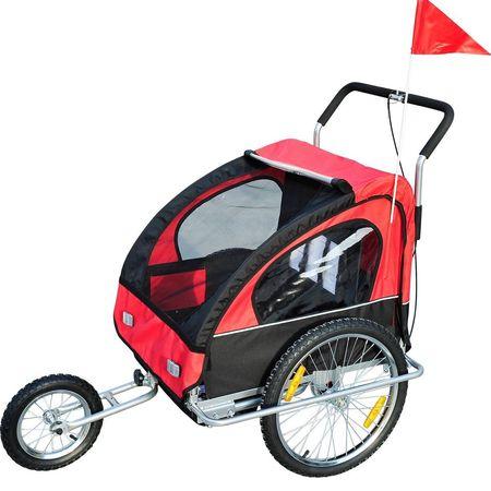 HomCom Reboque de Bicicleta para Crianças 2 Lugares e Carro de Empurrar para Correr- Vermelho 122 x 90 x 106 cm