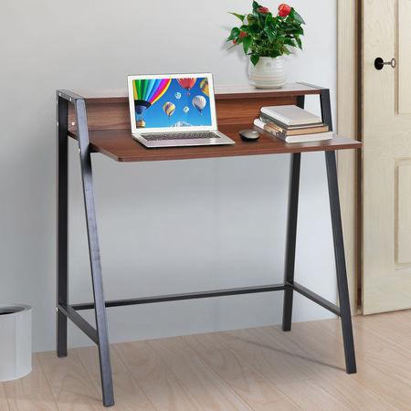 HOMCOM Tabela da mesa do computador para a cor industrial da nogal do estilo 84x45x85cm do escritório domiciliário