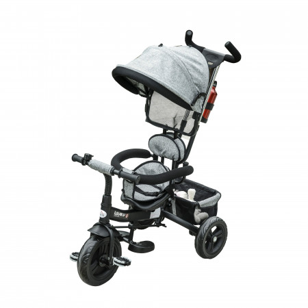 HOMCOM Triciclo para Crianças 2 em 1com capota ajustável acima de 18 Meses cinza 92x51x110cm