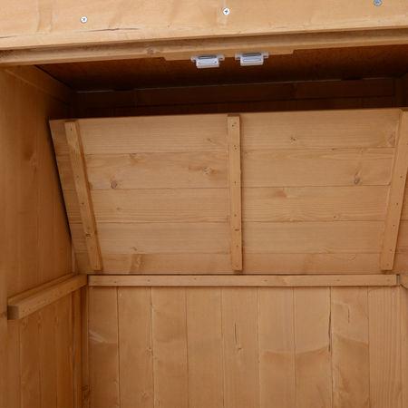 Outsunny Armário de Madeira Armário de Ferramentas de Jardinagem Barraca Exterior, 2 Portas, Teto Impermeável Madeira Maciça 74x43x88cm