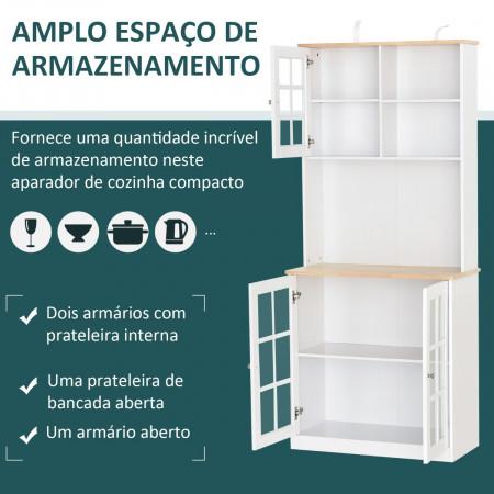 HOMCOM Aparador auxiliar de cozinha com amplo espaço de armazenamento Branco