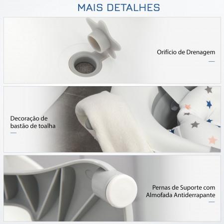 HOMCOM Banheira para Bebé até 3 anos Dobrável 30 litros com tampa termossensível e almofada 81,5x50,5x23,5 cm Cinza e branco