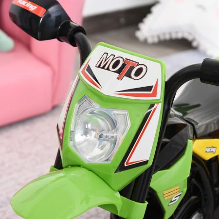 HOMCOM Moto infantil para crianças acima de 18 meses com 3 rodas Música e farol 71x40x51 cm Verde