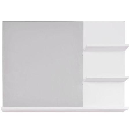 Kleankin Espelho de parede para banheiro com 3 prateleiras 60x10x48 cm Branco