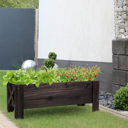 Outsunny Floreira de madeira Canteiro de flores de jardim retangular com pernas Para Flores Plantas 100x36.5x36 cm Castanho
