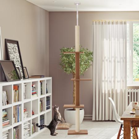 PawHut Árvore para gatos do chão ao teto, altura ajustável com 4 plataformas 43x27x228-260