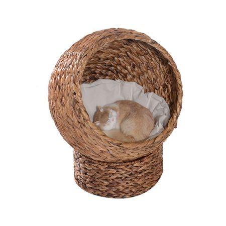 PawHut Cama destacável para gatos casa para animais de estimação Menos de 5 kg Design moderno Almofada macia e quente 42x33x52cm