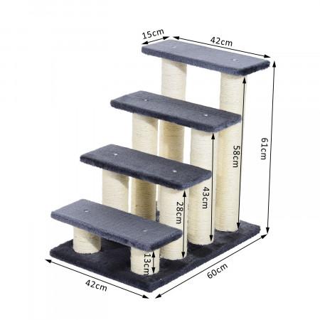 PawHut Escada para animais de estimação Capa de raspador de pelúcia macia estável 60x42x61 Cinza