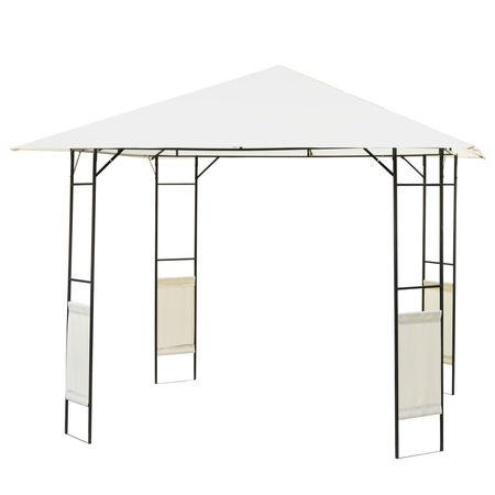 Tenda para Jardim ou Terraço - Cor Creme - Aço e Poliéster - 3x3x2,6 m