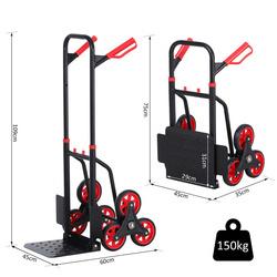 DURHAND Carrinho de mão de escada dobrável com rodas Carrega 150 kg de carrinho de mão portátil para armazéns de entrega