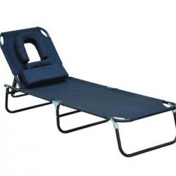Espreguiçadeira reclinável e dobrável com almofada de leitura ou massagem - Cor Preta – aço - de 190 x 56 x 28 cm