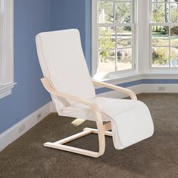 HomCom® Cadeira de Relaxar Madeira Beije 66.5x81x100cm