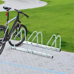 HomCom® Estacionamento 3 bicicletas Aço Prateado 70,5x33x27cm