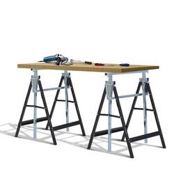 HomCom® Kit de 2 Andaimes pretos Aço 68x58x80-130cm