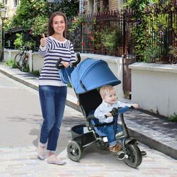 HomCom 3 em 1 triciclo para crianças +18 meses azul 96x53.5x101cm