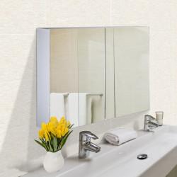 HOMCOM Armário de banheiro com espelho de parede Gabinete 2 portas com 3 prateleiras internas Estilo moderno para quarto Sala 80x15x60 cm Branco