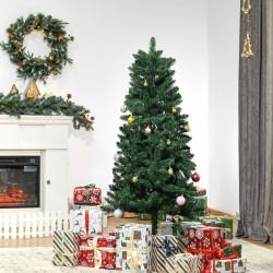 HOMCOM Árvore de Natal Artificial 150cm Ignífuga com 454 Ramas com 2 Tipos de Pontas de PVC e Base de Aço Decoração de Natal para Interiores Verde