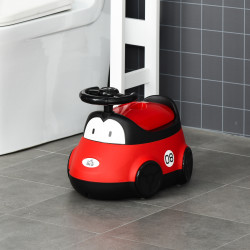 HOMCOM Bacio para Bebé de 6-36 Meses Bacio de Aprendizagem Treinamento Portátil em Forma de Carro com Tampa Volante Fácil de Limpar Carga 50kg 40x27,5x29,1cm Vermelho
