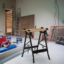 HOMCOM Bancada de Trabalho Dobrável Portátil com Placas Ajustáveis em Ângulo e Distância Bambú e Aço Carga Máx. 150kg 63,5x60x5x78cm Madeira Natural e Preto