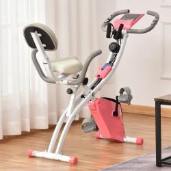 HOMCOM Bicicleta Estática Dobrável com Altura e Resistência Ajustáveis com Tela LCD e Assento com Encosto 51x97x115 cm Rosa