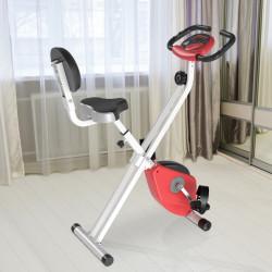HOMCOM Bicicleta Estática Dobrável com assento ajustável Ecrã LCD Aço 43x97x109 cm Vermelho