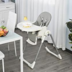 HOMCOM Cadeira de refeição ajustável e dobrável para bebê acima de 6 meses com bandeja dupla 55x80x104 cm Cinza