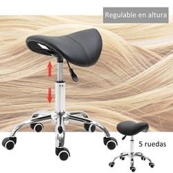 Homcom Cadeira De Trabalho com Rodinhas Banquinho Giratório Banquinho Cosmético preto