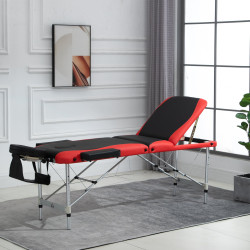 HOMCOM Cama de massagem dobrável e portátil 215x60x61-84cm ajustável em altura com apoio de cabeça e braço para fisioterapia Preto e vermelho