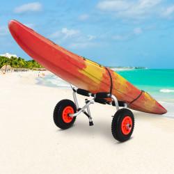 HOMCOM Carrinho de transporte dobrável para caiaque carga 75 kg de alumínio ajuste universal com rodas para barco canoa 57,5x33x24 cm prata