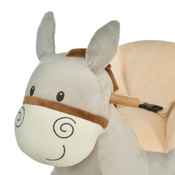 HOMCOM Cavalo de balanço de burro para bebê acima de 18 meses com cinto 61x34x58 cinza